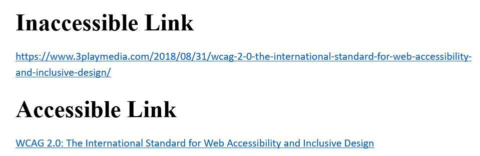 Graphic shows an inaccessible web link to an article and an accessible link to the same article with linked text